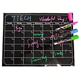 "7TECH Magnetic Calendar Board Dry Erase Calendar Monthly Fridge Calendar Board for Refrigerator, Kitchen Planning Board, Easy to Write&Erase, Strong Magnet, 16""x12"", Black"