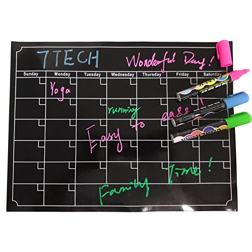 "7TECH Magnetic Calendar Board Dry Erase Calendar Monthly Fridge Calendar Board for Refrigerator, Kitchen Planning Board, Easy to Write&Erase, Strong Magnet, 16""x12"", Black by 7TECH"