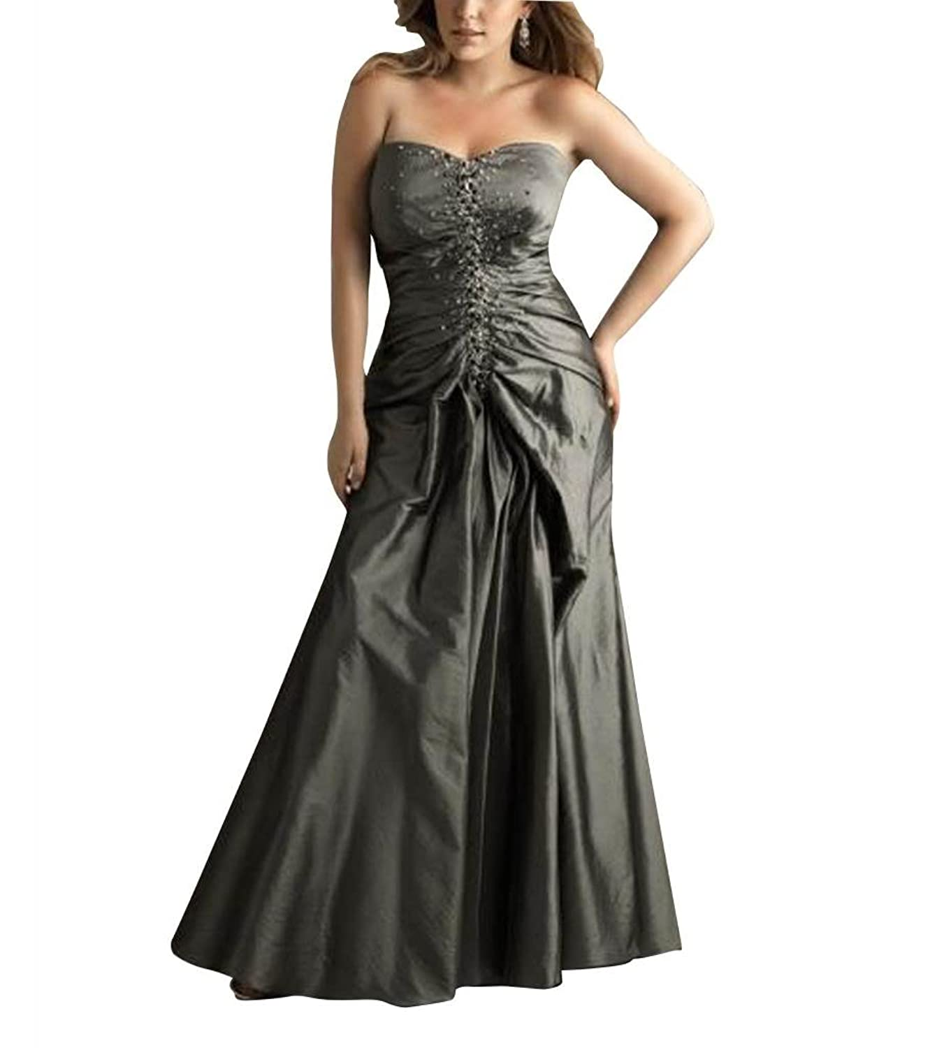 GEORGE BRIDE Grey Mother of The Bride Slight Sweetheart Floor Length Prom Dress With Beaded Appliques