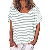 2019 Women's Summer Casual Printed Striped Tops O-Neck Short Sleeve Loose Top Blouses Daily T Shirts (White, XL)