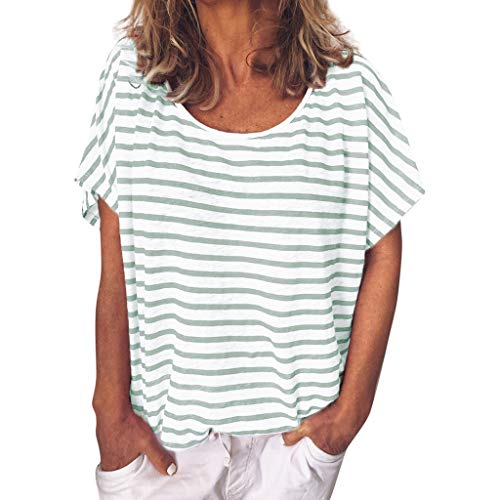 d79e3cf5a TOPKEAL Women's Summer Casual Striped Top Short Sleeve Blouse Girls O-Neck  Simple T-