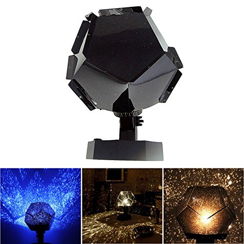 (Geekercity DIY Science Sky Projector Night Light, Rotating Phantom Celestial Cosmos Stars Projection LED Lamp for Children Kids Adults Bedroom Home and Halloween Christmas Party Decoration (Blue))