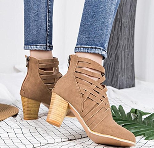 MUYII Women's Shoes For Spring Summer Zipper Thick With High-heeled Boots Europe And The United States Round Shoes Camel yqdYx