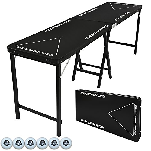 GoPong PRO 8 Foot Premium Beer Pong Table - Heavy Duty (Black, 36-Inch Tall) by GoPong