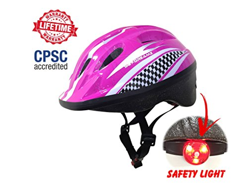 KIDS Bike Helmet – Adjustable from Toddler to Youth Size, Ages 3 To 7 - Durable Kid Bicycle Helmets with Fun Racing Design Boys and Girls will LOVE - CSPC Certified for Safety and Comfort (CPSC Pink)