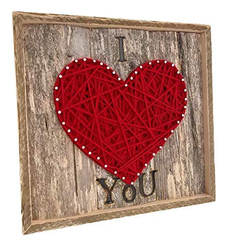 Framed I love you string art heart sign