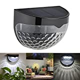 4 PCS Outdoor Landscape Warm White Light Semi-Circular Solar Fence Wall Lamp Waterproof Lights for Garden, Lawn, Roof (US Stock)