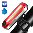 MOREZONE LED Bike Tail Light USB Rechargeable Bicycle Rear Light Red High Intensity for Cycling Safety 6 Light Modes Smart Taillights