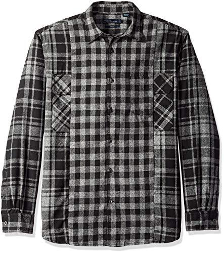 French Connection Men's Long Sleeve Flannel Stripe Button Down Shirt, Black Checks Plaid, L