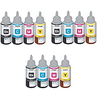 EPSON Ink All Colours (T6641-B, T6642-C, T6643-M, T6644-Y) - Pack of 3 at amazon