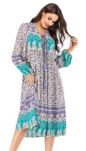 R.Vivimos Women's Long Sleeve Floral Print Retro V Neck Tassel Bohemian Midi Dresses (Medium, White Purple)