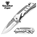 Cheap Snake Eye Tactical Heavy Duty Titanium Coated Handle Assisted Open Folding Pocket Knife Self Defense Everyday Carry (SILVER)