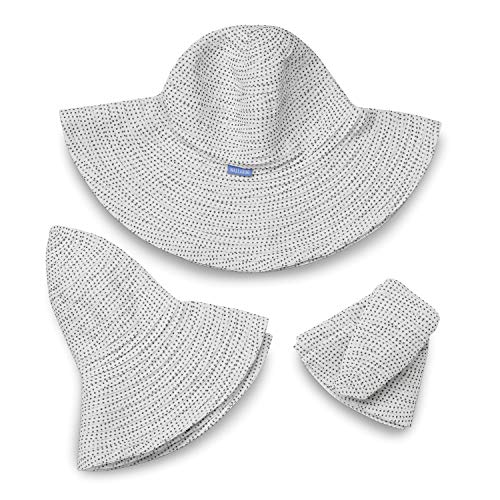 2afb50da5d82 Wallaroo Hat Company Women's Petite Scrunchie Sun Hat – White/Black Dots – UPF  50