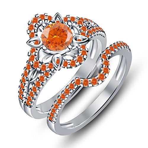 TVS-JEWELS White Platinum Plated Orange Sapphire Aesthetic Flower Design Ring Bridal Ring Set Round Cut (12)
