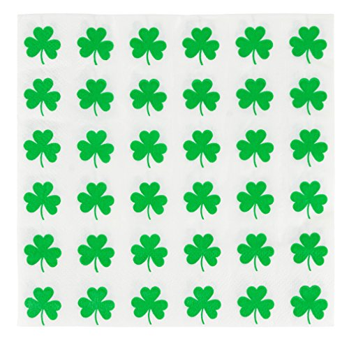 Cocktail Napkins - 150-Pack Luncheon Napkins, Disposable Paper Napkins St. Patrick's Party Supplies, 2-Ply, Green Shamrock Design, Unfolded 13 x 13 inches, Folded 6.5 x 6.5 inches