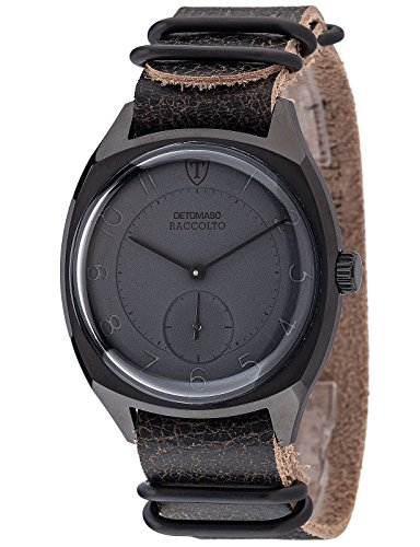 DETOMASO Raccolto Vintage Mens Wrist Watch Quartz Black Stainless Steel Casing Black Leather Strap DT1077-D