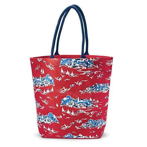 Mud Pie Women's Fashion Sailboat Toile Tote Bag (Red)