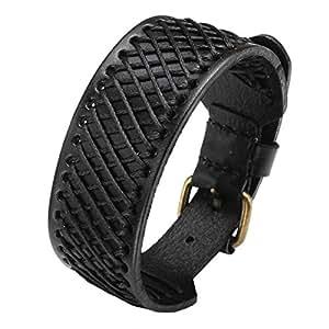 "Zysta Mens 30MM Wide Genuine Leather Handmade Hemp Grid Mesh Braided Wristband Buckle Belt Bracelet Bangle Cuff 7.5-9.5"""