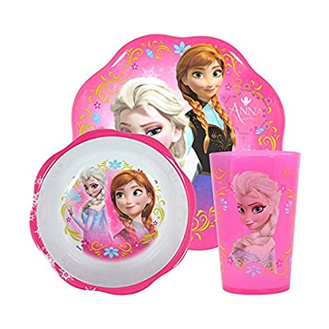amazon com disney frozen mealtime set with plastic plate bowl and