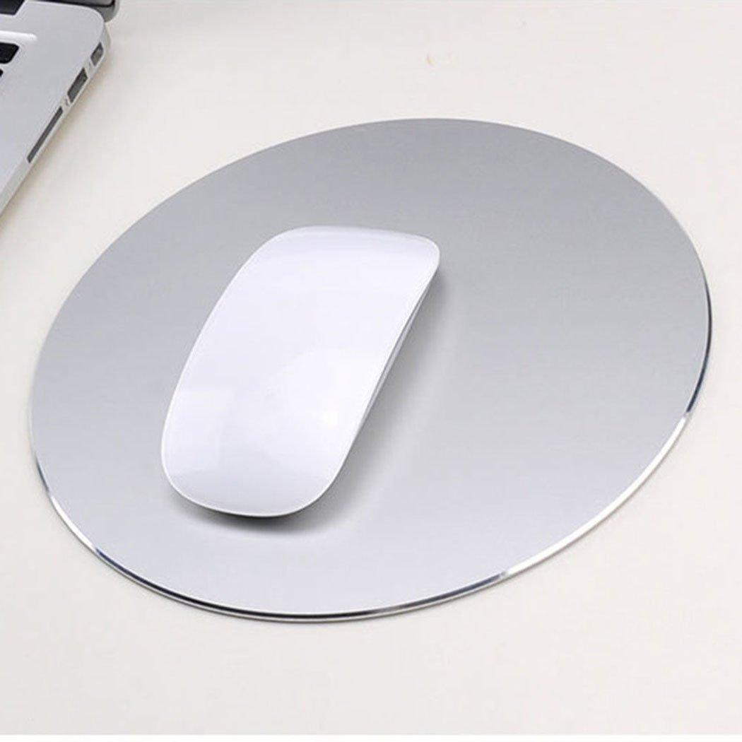 Almohadilla de rat/ón de aluminio del coj/ín de rat/ón Superficie de aleaci/ón de aluminio antideslizante para un control r/ápido y preciso Alfombrilla de rat/ón para juegos de goma plata de titanio