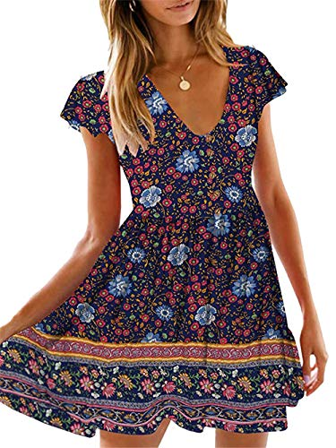 KIRUNDO Women's 2019 Summer Hot Short Sleeve V-Neck High Waist Floral Print Mini Boho Sun Dress with Button (X-Large, Navy)