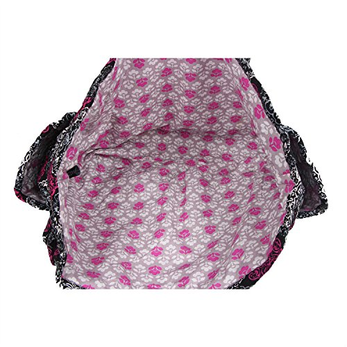 Floral Quilted Cotton Needle Bag Knitting Bag Yarn Storage Tote (Black)