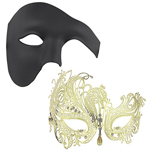 Couple's Gorgeous Masquerade Masks Set,Half Face Halloween Party Costumes Mask 2 Pieces (Gold+Black) -