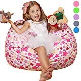 "kids storage solutions WEKAPO Stuffed Animal Storage Bean Bag Chair Cover for Kids | Stuffable Zipper Beanbag for Organizing Children Plush Toys | 38"" Extra Large Premium Cotton Canvas"