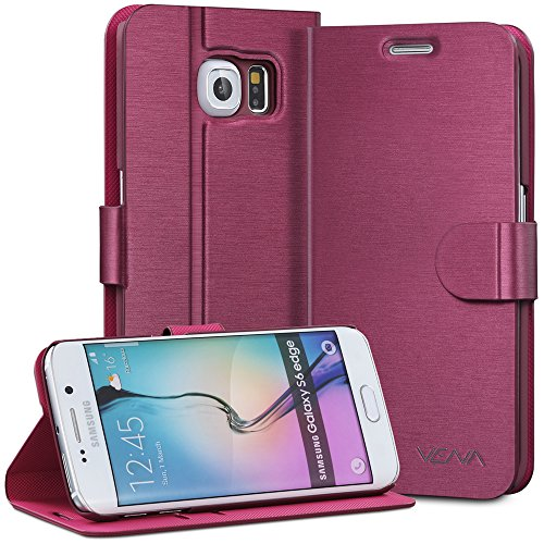 Galaxy S6 Edge Wallet Case, VENA [vSuit] Draw Bench Leather Flip Cover [Adjustable   Foldable] Stand Card Slots Case for Samsung Galaxy S6 Edge (Burgundy Red)