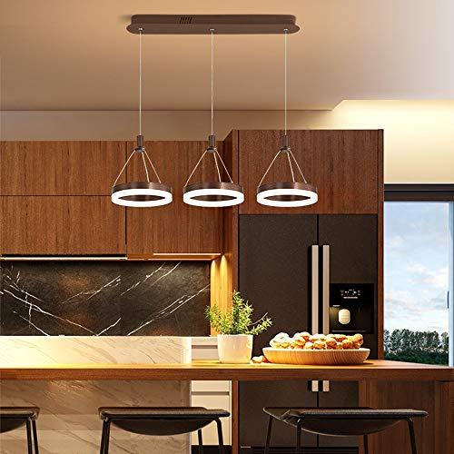 LED Iluminación Colgante Regulable con Control Remoto Lámpara Moderna Sala de Estar 3 Anillos Marrón Araña de Luces…