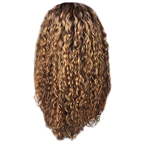 A Wigs Afro,Human Hair Curly Wigs Bangs Sexy Women Fashion Afro Long Kinky Curly Hair Wavy Wigs Lace Front Party Wig (Brown) ()