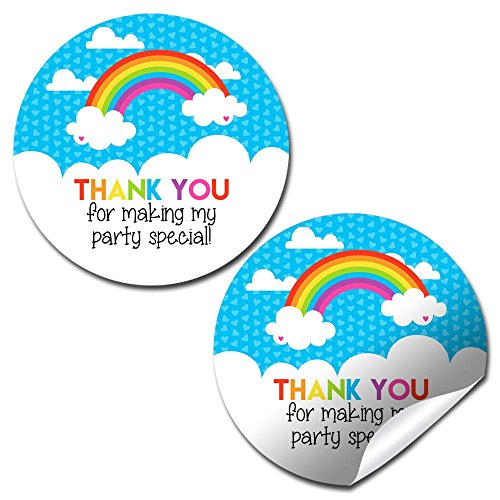 (Rainbow Birthday Party Thank You Sticker Labels, 40 2