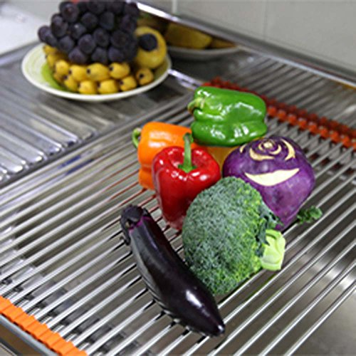 Dish Drying Rack Over-The-Sink Folding Dish Drainer Mat - 5