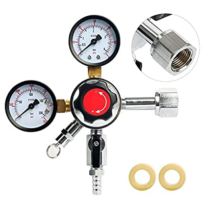 YaeBrew Dual Gauge Co2 Draft Beer Dispensing Regulator, Chrome plated Brass CGA-320