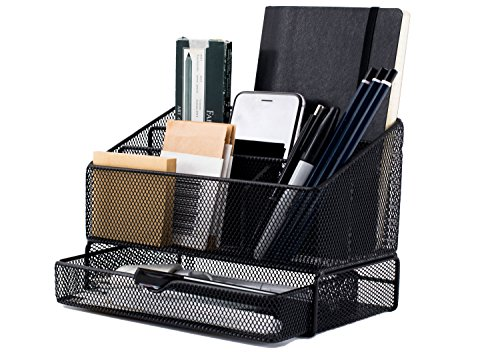 Equippt Desk Organizer Caddy with Draw, Letter Holder & Mail Organizer for Offices out of Black Steel Mesh by Equippt (Image #9)