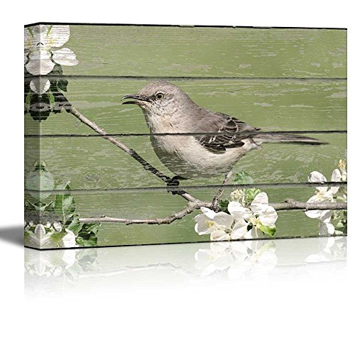 wall26 Canvas Wall Art - Grey Bird Sitting on a Flower Branch on Vintage Wood Textured Background - Rustic Country Style Modern Giclee Print Gallery Wrap Home Decor Ready to Hang - 12