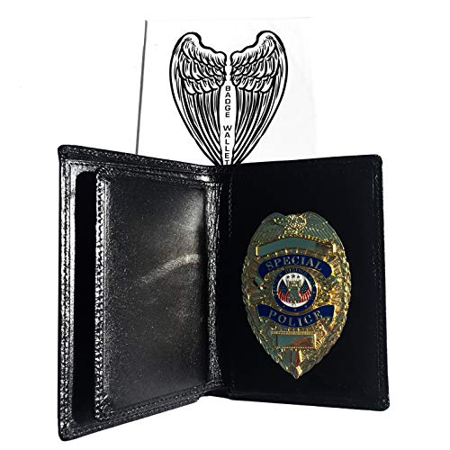 Leather Badge Holder Wallet with Concealed Archangel Michael Wings - Pin Back for Police - Law Enforcement Gift