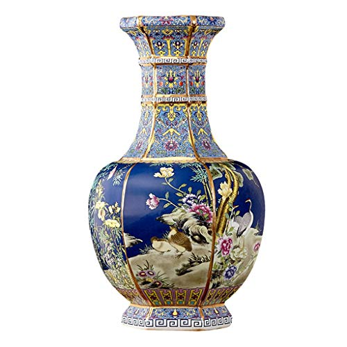 GXFC Oriental Style Series - Large Chinese Classical Vase, Antique Porcelain, Six-Sided Pattern, Handmade Home Decor Flower Vase, 20