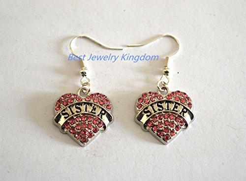 Sister Earrings, Silver Heart Earrings, Silver Earrings, Silver Heart Charms (B) (Lil B Halloween)