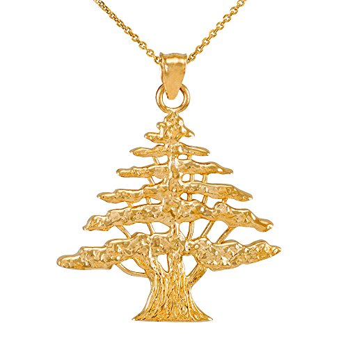 Middle Eastern Jewelry Textured 10k Yellow Gold Lebanese Cedar Tree Pendant Necklace, 22