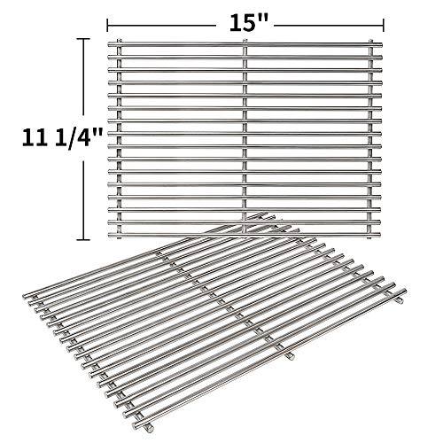 SHINESTAR 7522 Cooking Grates 15 inch Replacement for Weber Spirit 200 Grill Grates with Side Control Knobs, Stainless Steel 15 x 11 Grates for Spirit 210 Parts, Spirit e210 Grill Parts (SS-KW010B) ()