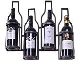 welland wine rack - WELLAND 4 Bottle Shaped Metal Wall Wine Rack , Holds 4 Wine Bottles