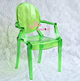 1/6 Barbie Blythe Green Tranparent Plastic Arm Toy Chair Dollhouse Miniature