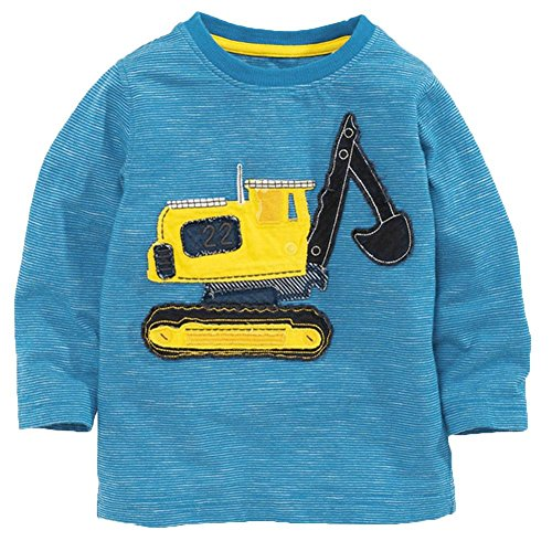 Frogwill Toddler Boys Excavator Long Sleeve Cartoon T Shirts 4t Blue