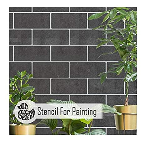 Subway Tile Stencil for Bathroom or Kitchen Walls and Floors ...