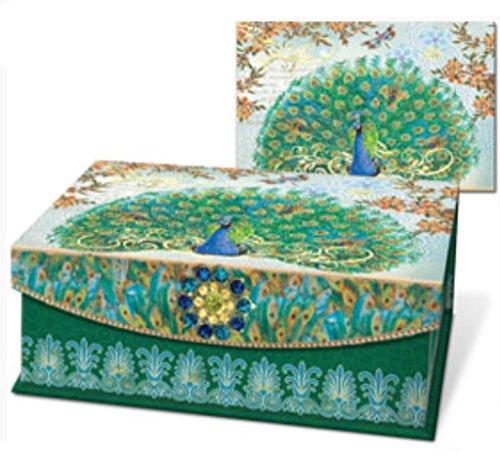 Punch Studio Royal Peacock Embellished Flap Trinket Box, Medium 58887