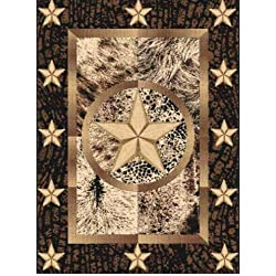 Texas Star Area Rug Lone Star Black & Brown Design TX16 (5 Feet 3 Inch X 7 Feet 2 Inch)