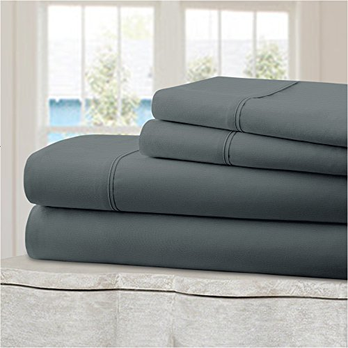 Mellanni 100% Cotton Bed Sheet Set - 300 Thread Count Percale - Deep Pocket - Quality Luxury Bedding - 4 Piece (Queen, Gray)
