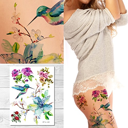 Supperb Temporary Tattoos  Spring flowers amp Hummingbird