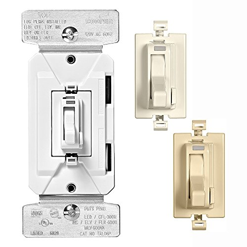 (EATON TAL06P2-C2 AL Series 300W All Load 3-Way & Single Pole Toggle Dimmer with Preset and Color Kit, Light Almond/White/Ivory)